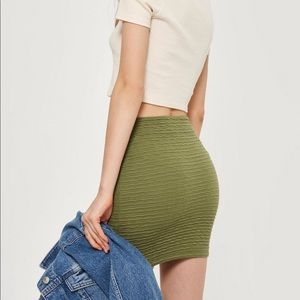 Topshop Skirts - NWOTs TOPSHOP Textured Pullon Olive Mini Skirt